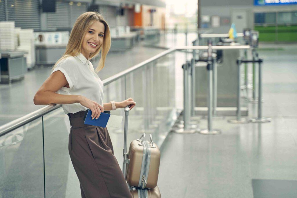 Airport Transfer Bad Kreuznach white girl standing